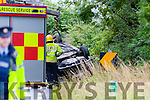 The fire services and the Guards attended a single car crash last Saturday evening near the Ballyroe Hts hotel when a car travelling from Ardfert to Tralee lost contact with the road and flipped onto its roof.No one was injured and the road was closed for a short while
