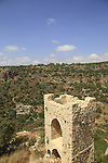 Israel, Upper Galilee, Crusader fortress Montfort overlooking Nahal Kziv