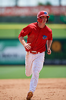 Clearwater Threshers designated hitter Cord Sandberg running the bases during the first game of a doubleheader against the Lakeland Flying Tigers on June 14, 2017 at Spectrum Field in Clearwater, Florida.  Lakeland defeated Clearwater 5-1.  (Mike Janes/Four Seam Images)