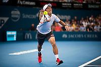 KEI NISHIKORI (JPN)<br /> <br /> BRISBANE INTERNATIONAL, PAT RAFTER ARENA, BRISBANE TENNIS CENTRE, BRISBANE, QUEENSLAND, AUSTRALIA, ATP, WTA, Hard Court, Outside, Men's tennis, Women's tennis, Men's singles, women's singles, men's doubles, women's doubles.<br /> <br /> &copy; TENNIS PHOTO NETWORK