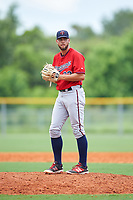 GCL Twins relief pitcher Matz Schutte (23) gets ready to deliver a pitch during the first game of a doubleheader against the GCL Rays on July 18, 2017 at Charlotte Sports Park in Port Charlotte, Florida.  GCL Twins defeated the GCL Rays 11-5 in a continuation of a game that was suspended on July 17th at CenturyLink Sports Complex in Fort Myers, Florida due to inclement weather.  (Mike Janes/Four Seam Images)