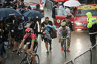 chaos rules at the finish of stage 9 in Andorra Arcalis (coming from Velha Val d'Aran/ESP, 184km) when a fierce thunderstorm (heavy rain/hail) hits as Rui Costa (POR/Lampre-Merida) & Rafal Majka (POL/Tinkoff) come in after their sprint for 2nd place<br /> <br /> 103rd Tour de France 2016