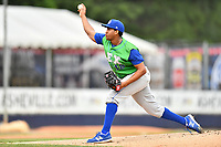 Lexington Legends starting pitcher Ofreidy Gomez (18) delivers a pitch during a game against the Asheville Tourists at McCormick Field on May 29, 2017 in Asheville, North Carolina. The Legends defeated the Tourists 5-2. (Tony Farlow/Four Seam Images)