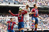 9th September 2017, Santiago Bernabeu, Madrid, Spain; La Liga football, Real Madrid versus Levante; Alex Alegria (17) of Levante, Sergio Ramos Garcia (4) of Real Madrid and Ivi Lopez (14) of Levante