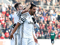 Calcio, Serie A: Sassuolo vs Juventus. Reggio Emilia, Mapei Stadium, 29 gennaio 2017. <br /> Juventus&rsquo; Sami Khedira, right, celebrates with teammates Miralem Pjanic, left, and Paulo Dybala, after scoring during the Italian Serie A football match between Sassuolo and Juventus at Reggio Emilia's Mapei stadium, 29 January 2017.<br /> UPDATE IMAGES PRESS/Isabella Bonotto