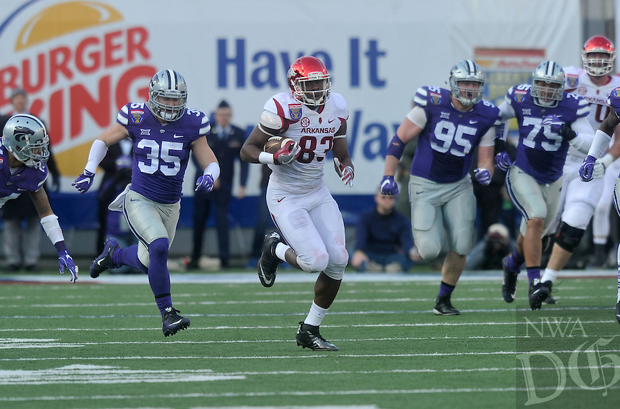 NWA Democrat-Gazette/MICHAEL WOODS • @NWAMICHAELW<br /> University of Arkansas tight end Jeremy Sprinkle (83) runs for a big gain in the 2nd quarter of the Razorbacks 45-23 win over Kansas State in the 57th annual AutoZone Liberty Bowl January 2, 2016.