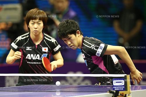 Maharu Yoshimura & Kasumi Ishikawa (JPN), APRIL 27, 2015 - Table Tennis : 2015 World Table Tennis Championships Mixed doubles 2nd round match at Suzhou International Expo Centre, Suzhou, China. (Photo by Shingo Ito/AFLO SPORT)