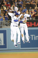 05/20/12 Los Angeles, CA: Los Angeles Dodgers outfielder Scott Van Slyke #33,center fielder Tony Gwynn #10, right fielder Andre Ethier #16 during an MLB game between the St Louis Cardinals and the Los Angeles Dodgers played at Dodger Stadium. The Dodgers defeated the Cardinals 6-5.