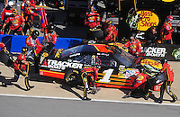 Nov. 1, 2009; Talladega, AL, USA; NASCAR Sprint Cup Series driver Martin Truex Jr pits during the Amp Energy 500 at the Talladega Superspeedway. Mandatory Credit: Mark J. Rebilas-