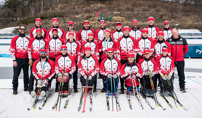 PyeongChang 18/3/2018 - Canada's cross country and biathlon team poses for a photo at the Alpensia Biathlon Centre during the 2018 Winter Paralympic Games in Pyeongchang, Korea. Photo: Dave Holland/Canadian Paralympic Committee