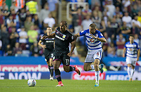 Gabriel Agbonlahor of Aston Villa holds off Joey van den Berg of Reading during the Sky Bet Championship match between Reading and Aston Villa at the Madejski Stadium, Reading, England on 15 August 2017. Photo by Andy Rowland / PRiME Media Images.