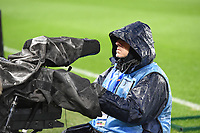 20200304 Valenciennes , France : illustration picture shows cameramen in the rain  pictured during the female football game between the national teams of The Netherlands and Brasil on the first matchday of the Tournoi de France 2020 , a prestigious friendly womensoccer tournament in Northern France , on wednesday 4 th March 2020 in the Stade du Hainaut of Valenciennes , France . PHOTO SPORTPIX.BE | DIRK VUYLSTEKE