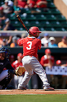 Florida Southern Moccasins right fielder Logan Browning (3) at bat during an exhibition game against the Detroit Tigers on February 29, 2016 at Joker Marchant Stadium in Lakeland, Florida.  Detroit defeated Florida Southern 7-2.  (Mike Janes/Four Seam Images)