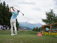 Sebastian Soderberg (SWE) in action at the playoff during final round at the Omega European Masters, Golf Club Crans-sur-Sierre, Crans-Montana, Valais, Switzerland. 01/09/19.<br /> Picture Stefano DiMaria / Golffile.ie<br /> <br /> All photo usage must carry mandatory copyright credit (© Golffile | Stefano DiMaria)