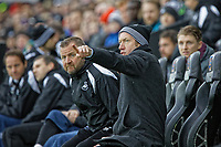 (L-R) Billy Reid, assistant manager for Swansea and Swansea City manager Graham Potter react on the bench during the FA Cup Fourth Round match between Swansea City and Gillingham at the Liberty Stadium, Swansea, Wales, UK. Saturday 26 January 2019