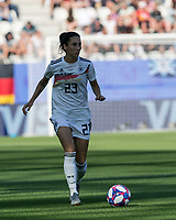 GRENOBLE, FRANCE - JUNE 22: Sara Doorsoun #23 looks to pass during a game between Panama and Guyana at Stade des Alpes on June 22, 2019 in Grenoble, France.
