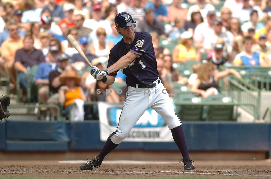 COREY HART, of the Milwaukee Brewers, in action during the Brewers game against the San Francisco  Giants in Milwaukee, WI  on July 22,  2007...Brewers  win 7-5...DAVID DUROCHIK / SPORTPICS.
