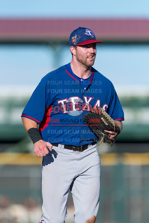 AZL Rangers center fielder Ryan Anderson (6) jogs off the field between innings of an Arizona League game against the AZL Giants Black at Scottsdale Stadium on August 4, 2018 in Scottsdale, Arizona. The AZL Giants Black defeated the AZL Rangers by a score of 3-2 in the first game of a doubleheader. (Zachary Lucy/Four Seam Images)