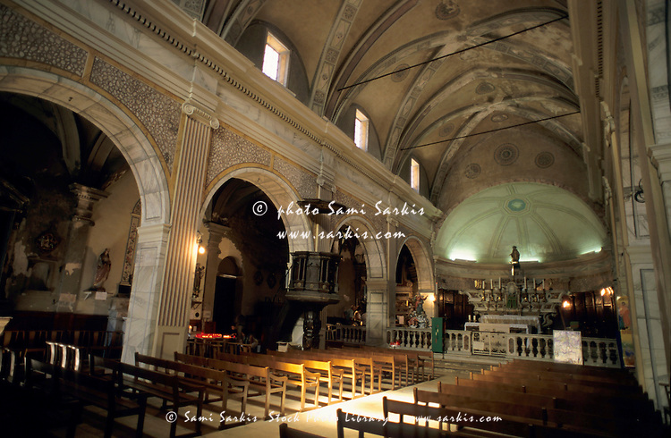 Interior of the Sainte Marie Majeure Church in Bonifacio, Corsica, France.