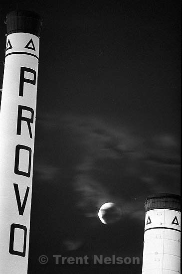 Provo City Power smokestacks and lunar eclipse.<br />