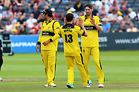 Chris Liddle of Gloucestershire is congratulated by his team mates after taking the wicket of Varun Chopra during Gloucestershire vs Essex Eagles, NatWest T20 Blast Cricket at The Brightside Ground on 13th August 2017