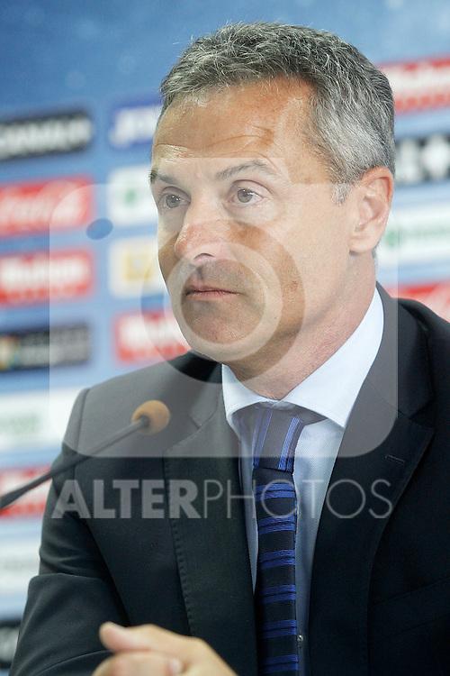 Getafe's new coach Fran Escriba during his official presentation. June 30, 2015. (ALTERPHOTOS/Acero)