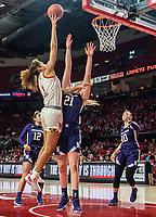 COLLEGE PARK, MD - JANUARY 26: Shakira Austin #1 of Maryland shoots over Abbie Wolf #21 of Northwestern during a game between Northwestern and Maryland at Xfinity Center on January 26, 2020 in College Park, Maryland.