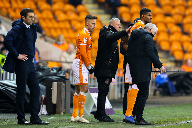 Blackpool's manager Terry McPhillips gives instructions to Michael Nottingham and John O'Sullivan<br /> <br /> Photographer Alex Dodd/CameraSport<br /> <br /> The EFL Sky Bet League One - Blackpool v Shrewsbury Town - Saturday 19 January 2019 - Bloomfield Road - Blackpool<br /> <br /> World Copyright &copy; 2019 CameraSport. All rights reserved. 43 Linden Ave. Countesthorpe. Leicester. England. LE8 5PG - Tel: +44 (0) 116 277 4147 - admin@camerasport.com - www.camerasport.com