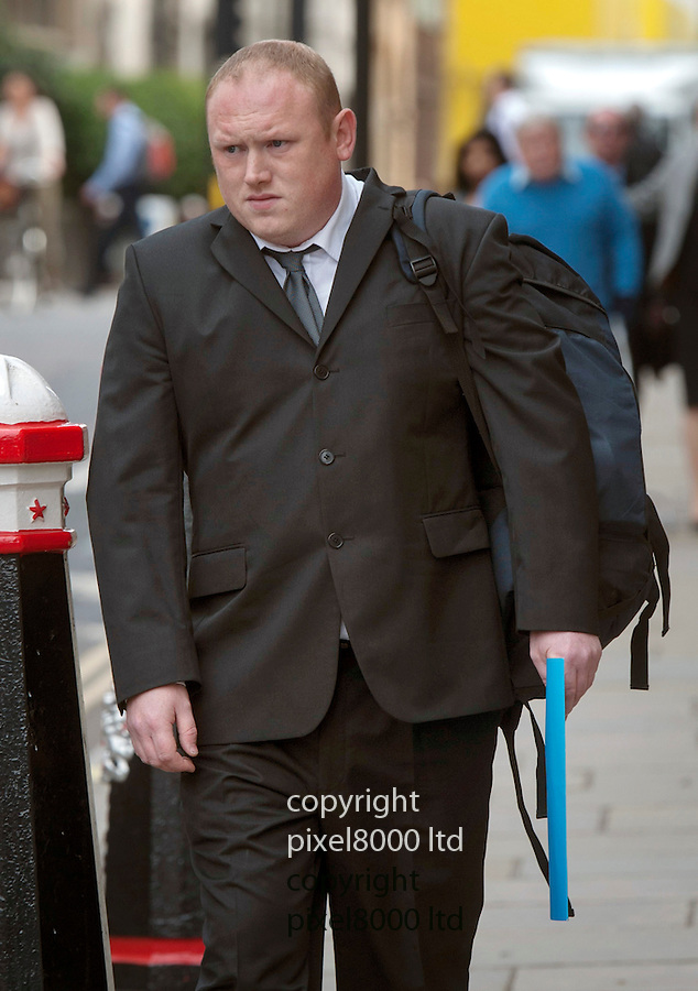 Pic shows: David Ribchester arrives at the Old Bailey today where he was facing a prison term.<br /> <br /> David Ribchester, of Washington, was  faced jail after he pleaded guilty at the Old Bailey to fraud by false representation<br /> A sportsman who tried to claim nearly &pound;1m for a work-related accident was caught out when investigators filmed him playing rugby.<br /> <br /> Refrigeration engineer David Ribchester told specialists that he was no longer able to take part in the sport, play the drums for his band or even carry his infant daughter, a court heard.<br /> <br /> But, insurance investigators filmed the 31-year-old training at a local rugby club and driving himself around.<br /> <br /> Ribchester, of the John F Kennedy estate, Washington, was told he faced jail after he pleaded guilty at the Old Bailey yesterday to fraud by false representation.<br /> <br /> <br /> <br /> <br /> Pic by Gavin Rodgers/Pixel 8000 Ltd
