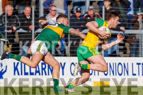 Barry John Keane Kerry in action against Eoghan Ban Gallagher Donegal in the Allianz Football League Division 1 Round 1 match between Kerry and Donegal at Fitzgerald Stadium in Killarney, Co. Kerry.