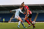 Sophie Haywood of Aston Villa and Naomi Hartley of Sheffield United during the The FA Women's Championship match at the Proact Stadium, Chesterfield. Picture date: 12th January 2020. Picture credit should read: James Wilson/Sportimage