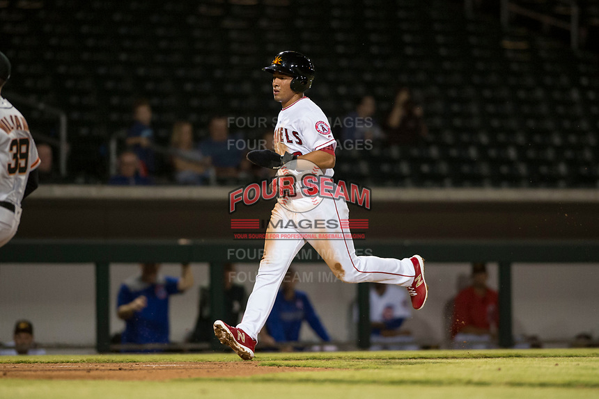 Mesa Solar Sox second baseman Jahmai Jones (9), of the Los Angeles Angels organization, runs home to score a run during an Arizona Fall League game against the Scottsdale Scorpions at Sloan Park on October 10, 2018 in Mesa, Arizona. Scottsdale defeated Mesa 10-3. (Zachary Lucy/Four Seam Images)