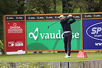 Rikard Karlberg (SWE) tees off the 12th tee during Sunday's Final Round of the 2017 Omega European Masters held at Golf Club Crans-Sur-Sierre, Crans Montana, Switzerland. 10th September 2017.<br /> Picture: Eoin Clarke | Golffile<br /> <br /> <br /> All photos usage must carry mandatory copyright credit (&copy; Golffile | Eoin Clarke)