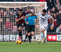 Wolverhampton Wanderers' Ruben Neves (right) battles with Bournemouth's Joshua King (left) <br /> <br /> Photographer David Horton/CameraSport<br /> <br /> The Premier League - Bournemouth v Wolverhampton Wanderers - Saturday 23 February 2019 - Vitality Stadium - Bournemouth<br /> <br /> World Copyright © 2019 CameraSport. All rights reserved. 43 Linden Ave. Countesthorpe. Leicester. England. LE8 5PG - Tel: +44 (0) 116 277 4147 - admin@camerasport.com - www.camerasport.com