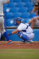 Dunedin Blue Jays catcher Mike Reeves (7) awaits the pitch during a game against the St. Lucie Mets on April 19, 2017 at Florida Auto Exchange Stadium in Dunedin, Florida.  Dunedin defeated St. Lucie 9-1.  (Mike Janes/Four Seam Images)