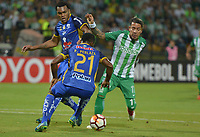 MEDELLÍN -COLOMBIA - 14-03-2018: Dayro Moreno jugador del Atlético Nacional de Colombia en acción contra  el equipo Delfín Sporting Club de Ecuador.Atlético Nacional de Colombia  y Delfín Sporting Club de Ecuador durante partido por la Copa Conmebol Libertadores de América ,grupo B ,fecha 2 ,jugado en el estadio Atanasio Girardot de la ciudad de Medellín. / Dayro Moreno player of Atletico Nacional of Colombia in actions agaisnt of Delfín Sportig Club of Ecuador. Atletico Nacional of Colombia and Delfin Sporting Club of Ecuador during  match for the Conmebol Libertadores Cup 2018  ,date 2 , B Group , played at Atanasio Girardot stadium in Medellin city. Photo: VizzorImage/ León Monsalve /Cont