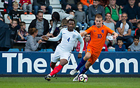 Tayo Edun (Fulham) of England U20 turns Dani De Wit (Jong Ajax) of Netherlands during the International friendly match between England U20 and Netherlands U20 at New Bucks Head, Telford, England on 31 August 2017. Photo by Andy Rowland.