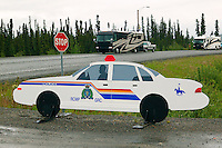 Fake Mounties car along the Alaska Highway, Teslin, Yukon