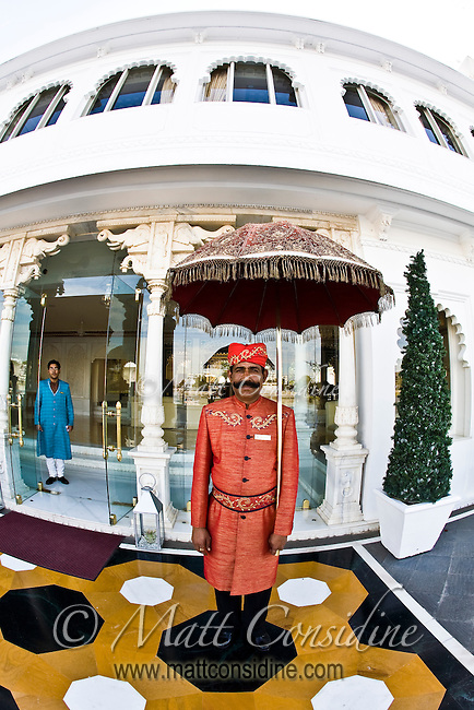 The staff at the Taj Lake Palace are really outstanding. The traditional doorman is a great way to be welcomed on your arrival.<br /> (Photo by Matt Considine - Images of Asia Collection)
