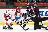 Danny Fick (Harvard - 7), Martin Hughes, Robbie Bourdon (Colgate - 17) - The Harvard University Crimson defeated the visiting Colgate University Raiders 4-2 on Saturday, November 12, 2011, at Bright Hockey Center in Cambridge, Massachusetts.