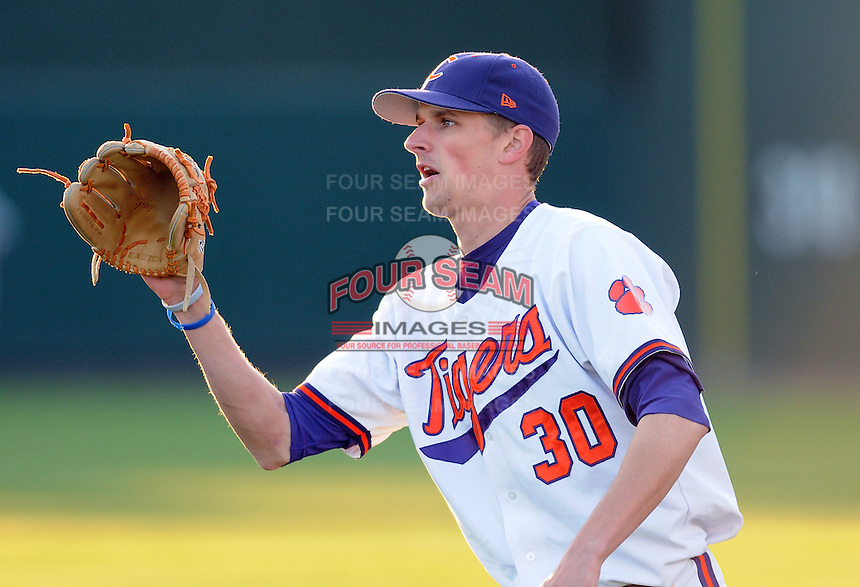Outfielder Will Lamb (30) of the Clemson Tigers in a game against the Presbyterian College Blue Hose on Wednesday, March 16, 2011, at Fluor Field in Greenville, S.C.  Photo by Tom Priddy / Four Seam Images