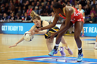 03.09.2017 England's Kadeen Corbin and South Africa's Karla Mostert in action during the Quad Series netball match between England and South Africa at the ILT Stadium Southland in Invercargill. Mandatory Photo Credit ©Michael Bradley.