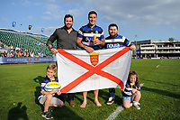 Matt Banahan of Bath Rugby poses for a photo with his family after the match. Aviva Premiership match, between Bath Rugby and London Irish on May 5, 2018 at the Recreation Ground in Bath, England. Photo by: Patrick Khachfe / Onside Images