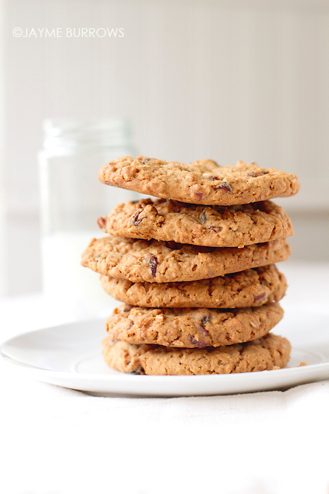 Oatmeal raisin cookie tower made with applesauce.