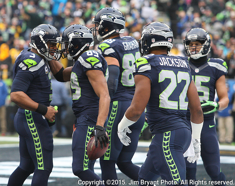 Seattle Seahawks wide receiver Doug Baldwin (89) celebrates his second quarter touchdown with Russell Wilson (3) against the Pittsburgh Steelers at CenturyLink Field in Seattle, Washington on November 29, 2015.  The Seahawks beat the Steelers 39-30.      ©2015. Jim Bryant Photo. All Rights Reserved.