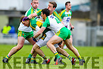 Darran O'Sullivan, Kerry, in action against Paddy McGrath, Donegal, and Hugh McFadden, Donegal, in the national Football League, Division 1, Round 4, at Austin Stack Park, Tralee on Sunday.