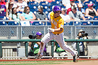 LSU Tigers shortstop Alex Bregman (8) rounds third base during the NCAA College baseball World Series against the Cal State Fullerton on June 16, 2015 at TD Ameritrade Park in Omaha, Nebraska. LSU defeated Fullerton 5-3. (Andrew Woolley/Four Seam Images)