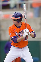 Ben Paulsen #10 of the Clemson Tigers at bat versus the Wake Forest Demon Deacons at Doug Kingsmore stadium March 13, 2009 in Clemson, SC. (Photo by Brian Westerholt / Four Seam Images)