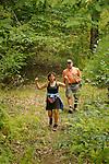 Couple returning from hike. Hostettlers.