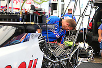 Oct 14, 2016; Ennis, TX, USA; Crew member for NHRA top fuel driver Richie Crampton during qualifying for the Fall Nationals at Texas Motorplex. Mandatory Credit: Mark J. Rebilas-USA TODAY Sports